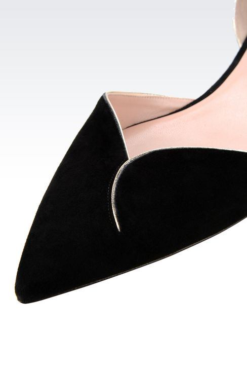 POINTED BALLET FLAT IN SUEDE WITH STRAP: Ballet flats Women by Armani - 4