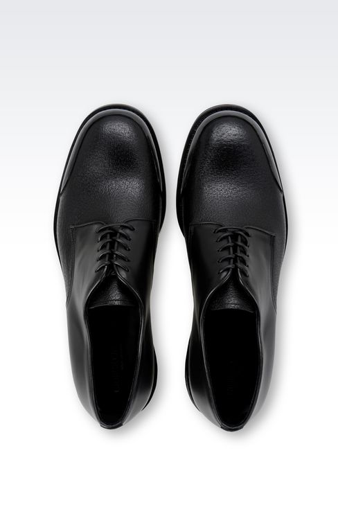 CALFSKIN DERBY WITH RUBBER SOLE: Lace-up shoes Men by Armani - 3