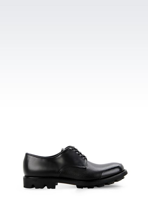 CALFSKIN DERBY WITH RUBBER SOLE: Lace-up shoes Men by Armani - 1