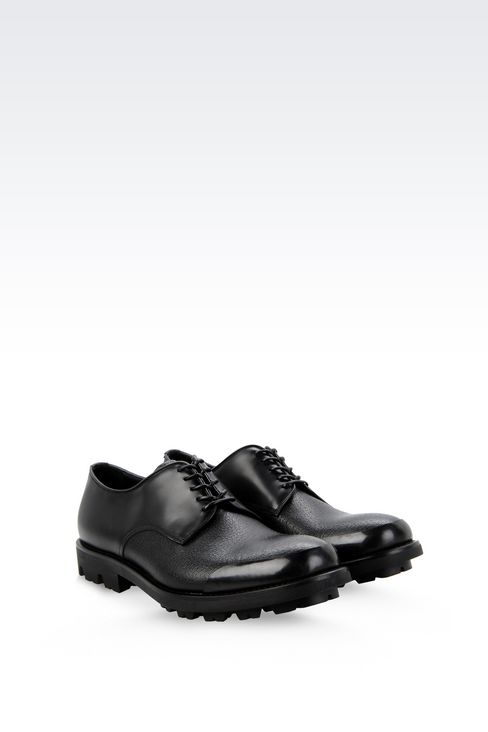 CALFSKIN DERBY WITH RUBBER SOLE: Lace-up shoes Men by Armani - 2