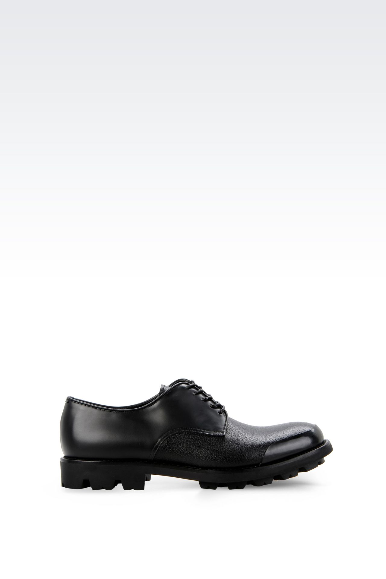 CALFSKIN DERBY WITH RUBBER SOLE: Lace-up shoes Men by Armani - 0