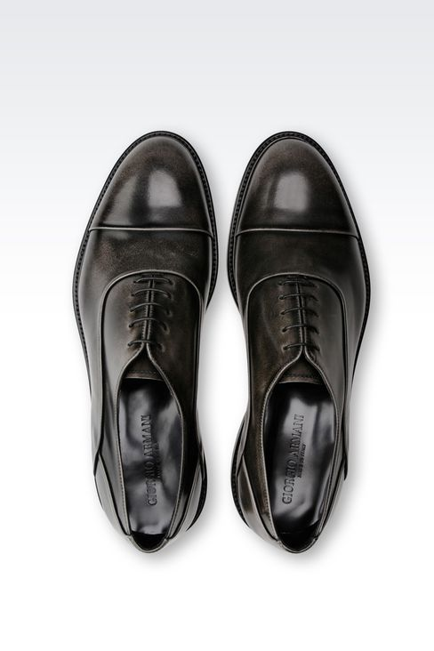 BROGUE IN BRUSHED FUMÉ CALFSKIN: Lace-up shoes Men by Armani - 3