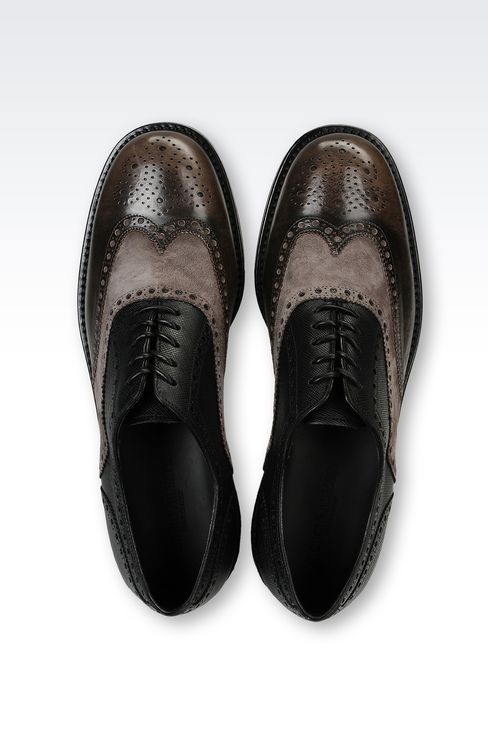 BROGUE IN SUEDE AND SAFFIANO CALFSKIN: Lace-up shoes Men by Armani - 3