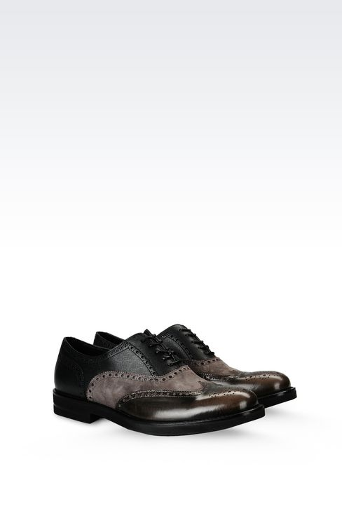 BROGUE IN SUEDE AND SAFFIANO CALFSKIN: Lace-up shoes Men by Armani - 2