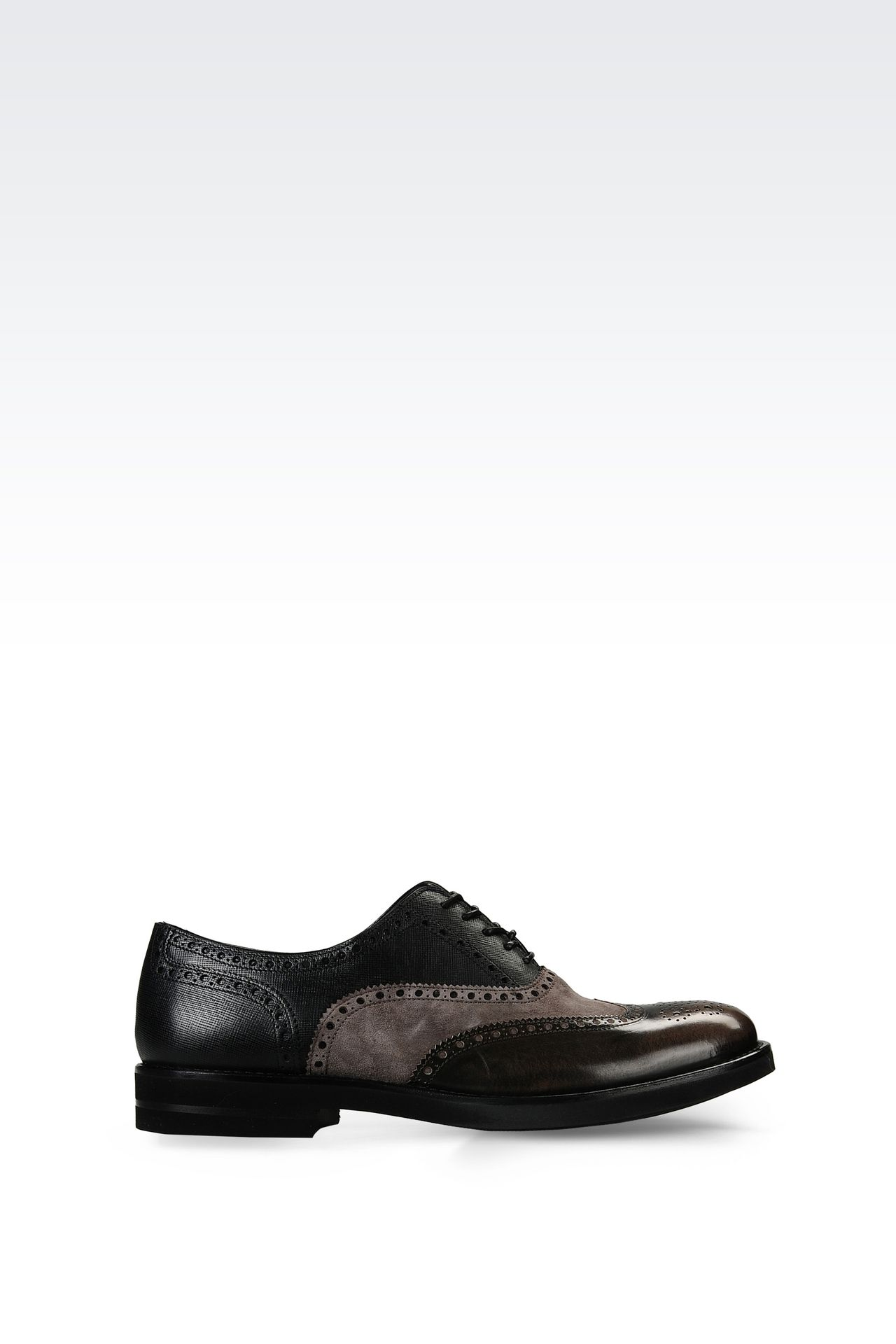 BROGUE IN SUEDE AND SAFFIANO CALFSKIN: Lace-up shoes Men by Armani - 0