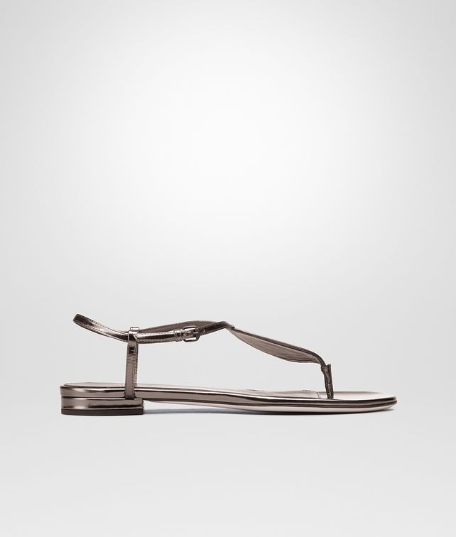 BOTTEGA VENETA NEW LIGHT GREY Intrecciato Mirror Metal SANDAL Flat D fp