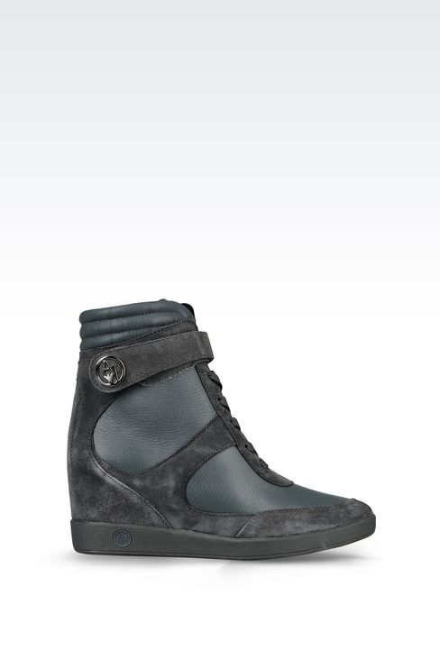 HIGH TOP SNEAKER IN LEATHER WITH WEDGE: Wedges Women by Armani - 1