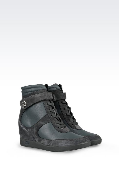 HIGH TOP SNEAKER IN LEATHER WITH WEDGE: Wedges Women by Armani - 2