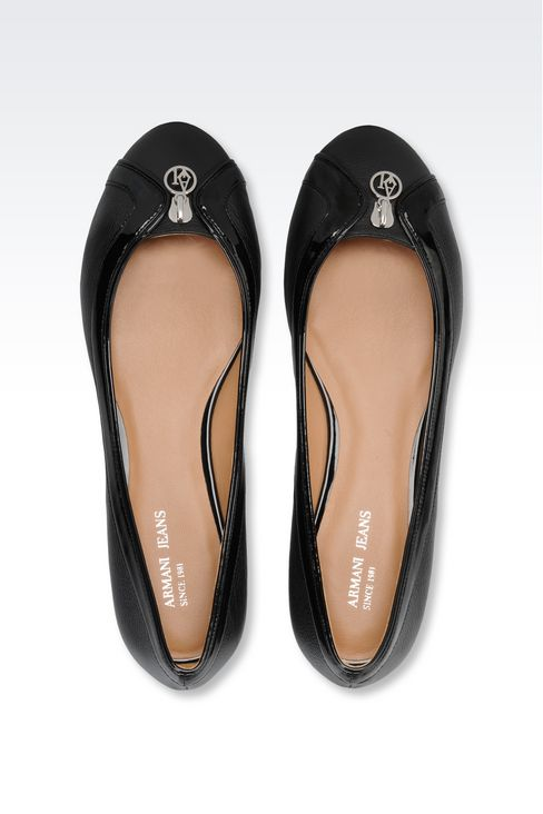 LEATHER BALLET FLAT WITH PATENT DETAILS: Ballet flats Women by Armani - 3