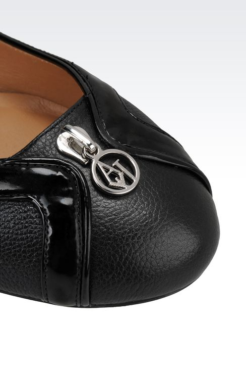 LEATHER BALLET FLAT WITH PATENT DETAILS: Ballet flats Women by Armani - 4