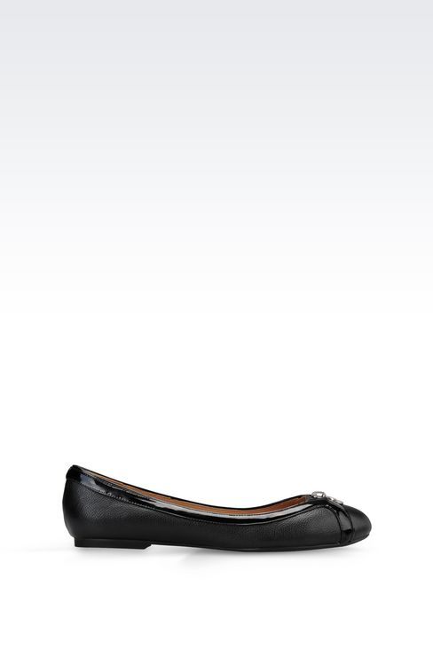 LEATHER BALLET FLAT WITH PATENT DETAILS: Ballet flats Women by Armani - 1