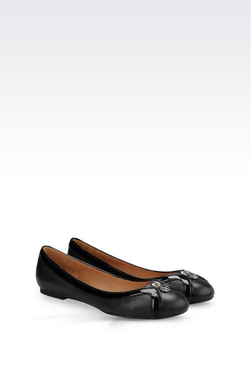 LEATHER BALLET FLAT WITH PATENT DETAILS: Ballet flats Women by Armani - 2