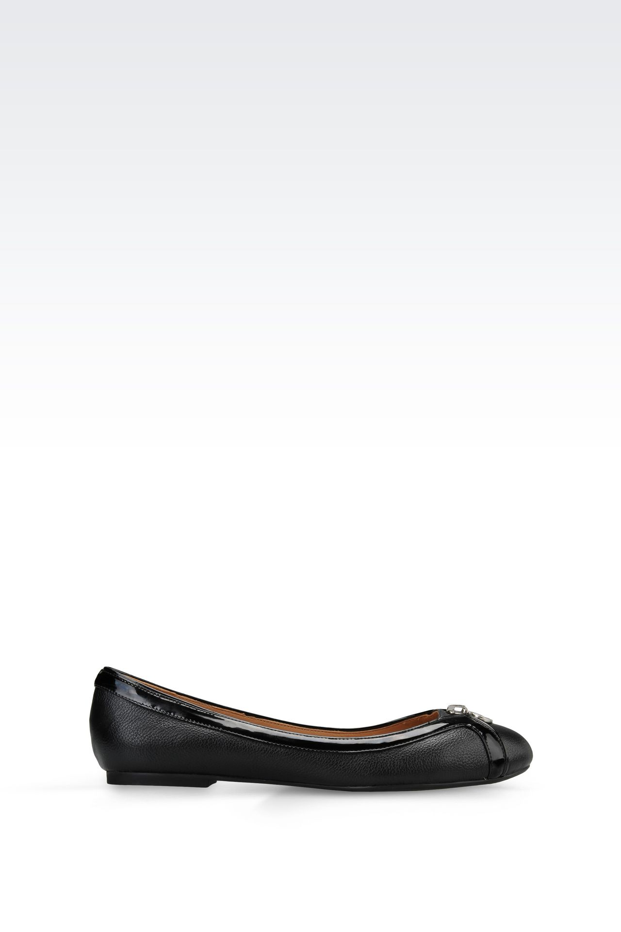 LEATHER BALLET FLAT WITH PATENT DETAILS: Ballet flats Women by Armani - 0