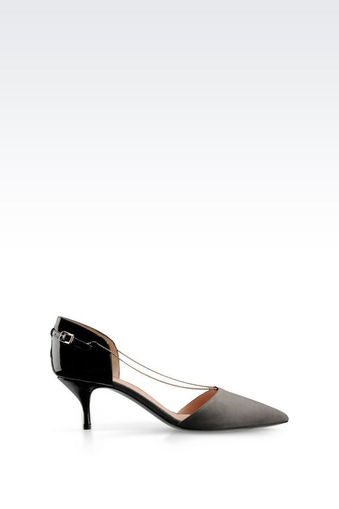 RUNWAY PUMP IN SUEDE AND PATENT WITH CHAIN: Closed-toe slip-ons  Women by Armani - 1