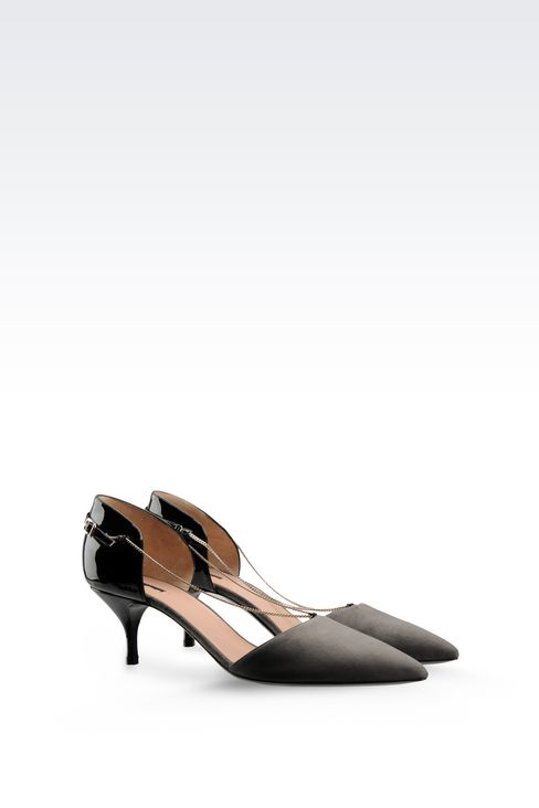 RUNWAY PUMP IN SUEDE AND PATENT WITH CHAIN: Closed-toe slip-ons  Women by Armani - 2