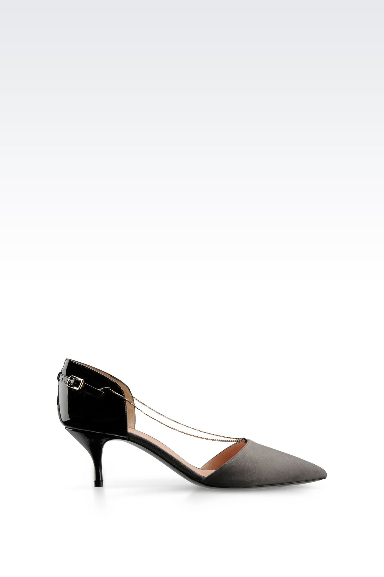 RUNWAY PUMP IN SUEDE AND PATENT WITH CHAIN: Closed-toe slip-ons  Women by Armani - 0