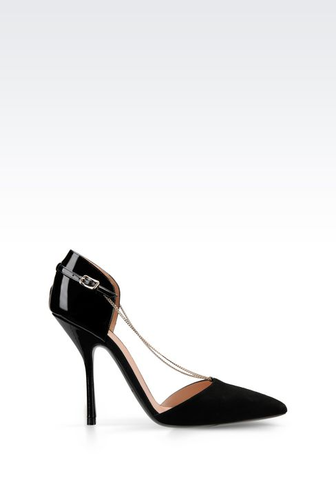 PUMP IN SUEDE AND PATENT WITH CHAIN: Closed-toe slip-ons  Women by Armani - 1