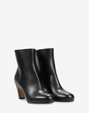 Open-toe ankle boot with curved heel