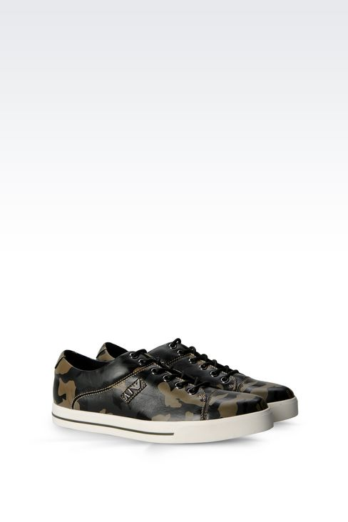 armani jeans men sneaker in camouflage print leather. Black Bedroom Furniture Sets. Home Design Ideas