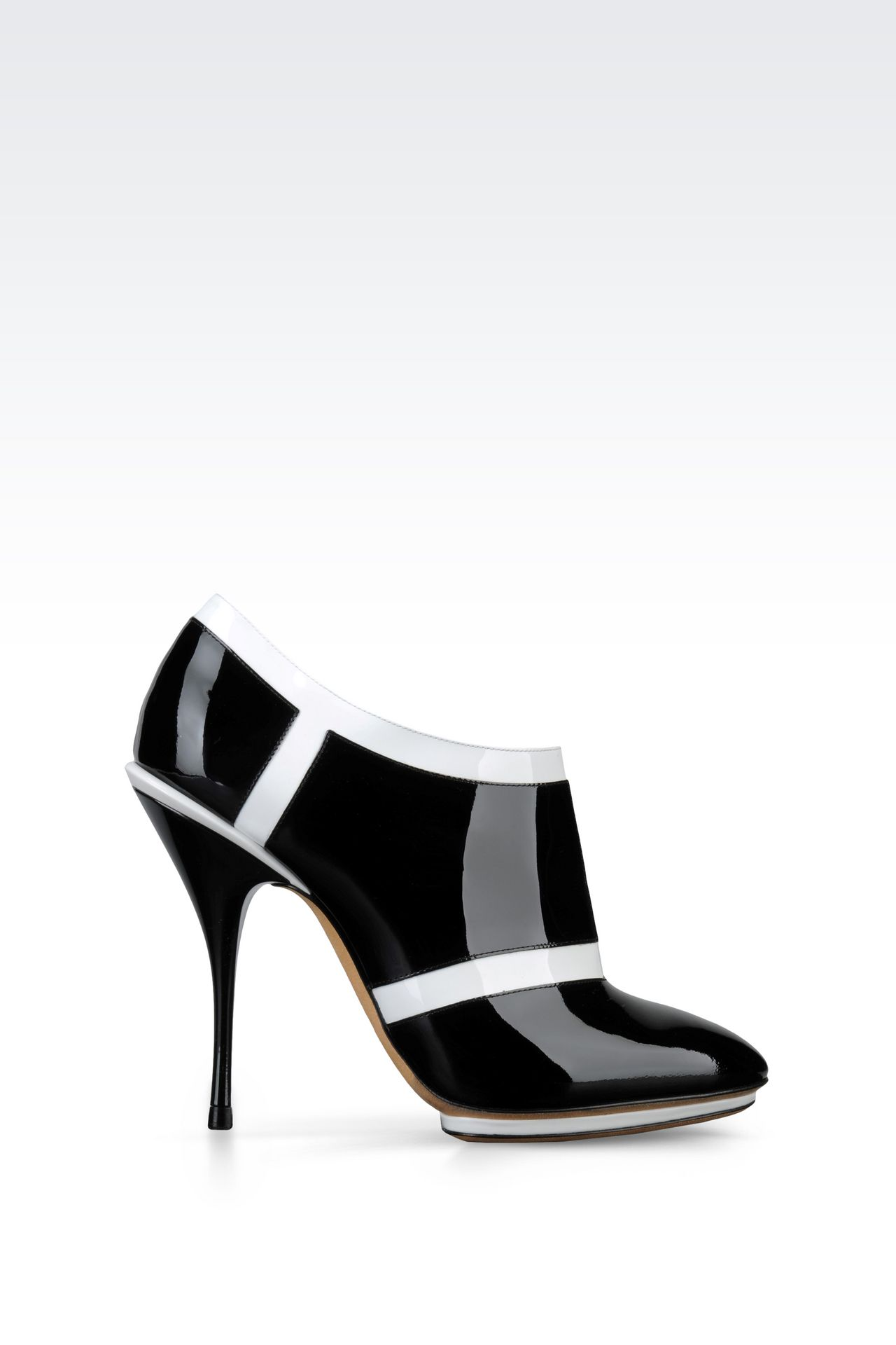 RUNWAY ANKLE BOOTS IN TWO-TONE PATENT LEATHER: Heeled pumps Women by Armani - 0