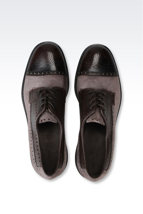 DERBY IN SUEDE AND SAFFIANO CALFSKIN: Lace-up shoes Men by Armani - 3