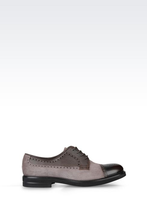 DERBY IN SUEDE AND SAFFIANO CALFSKIN: Lace-up shoes Men by Armani - 1