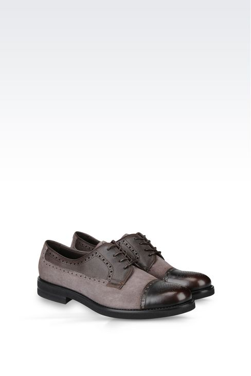 DERBY IN SUEDE AND SAFFIANO CALFSKIN: Lace-up shoes Men by Armani - 2