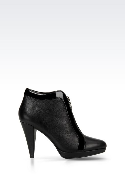 LEATHER ANKLE BOOT WITH ZIP: Ankle boots Women by Armani - 1