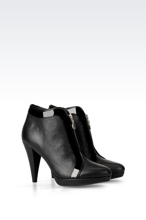 LEATHER ANKLE BOOT WITH ZIP: Ankle boots Women by Armani - 2