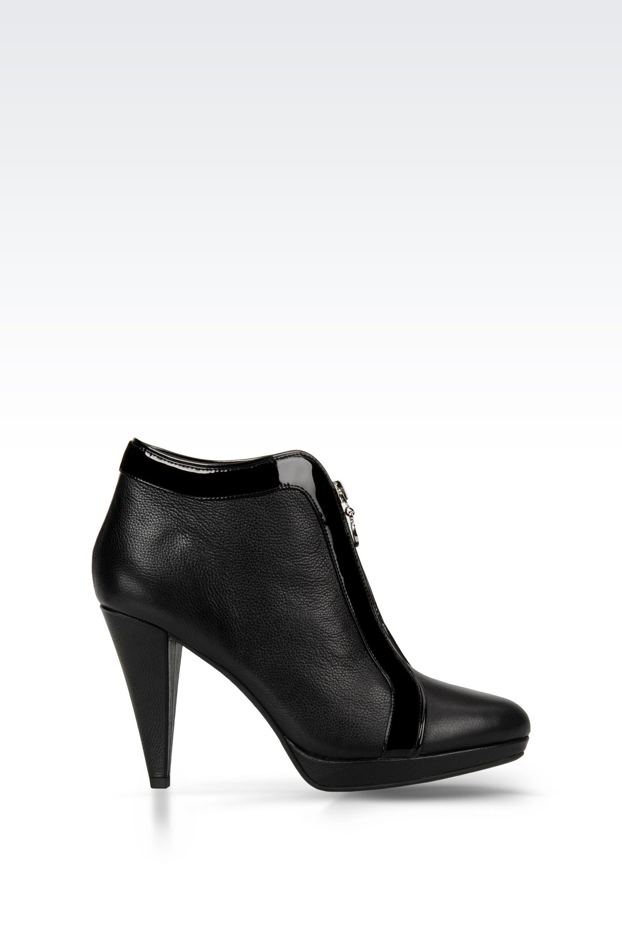 LEATHER ANKLE BOOT WITH ZIP: Ankle boots Women by Armani - 0
