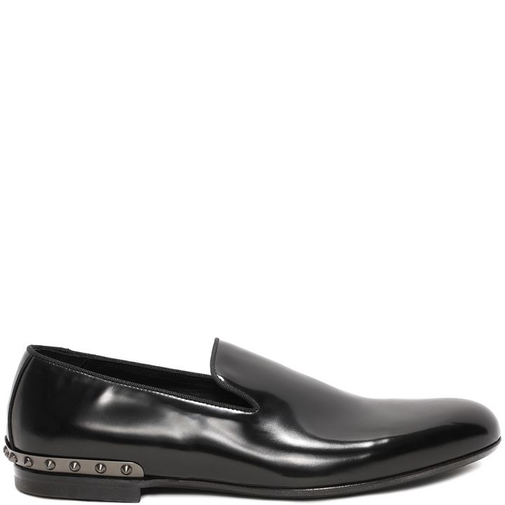 Alexander McQueen, Leather Metal Skull and Studs Counter Slipper