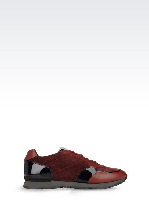 TWO-COLOUR SNEAKER IN LEATHER: Sneakers Men by Armani - 1