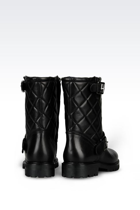 LEATHER COMBAT BOOT WITH QUILTED EFFECT: Ankle boots Women by Armani - 3
