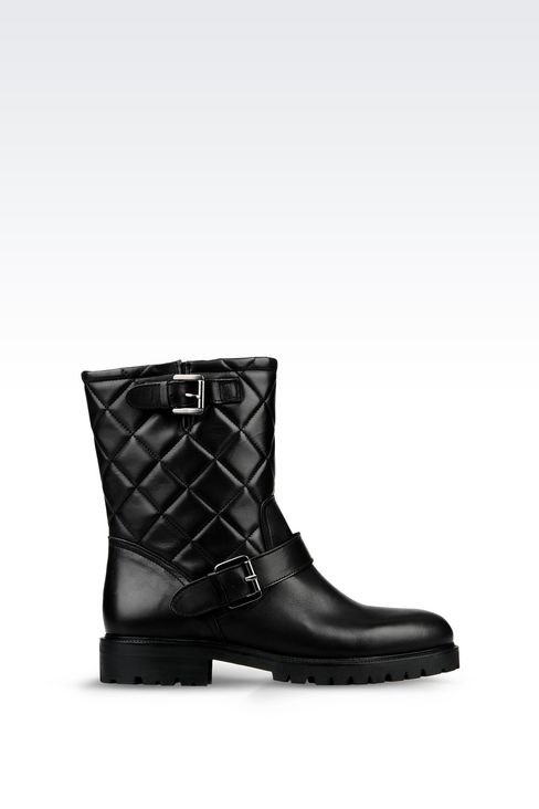 LEATHER COMBAT BOOT WITH QUILTED EFFECT: Ankle boots Women by Armani - 1