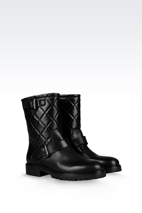 LEATHER COMBAT BOOT WITH QUILTED EFFECT: Ankle boots Women by Armani - 2