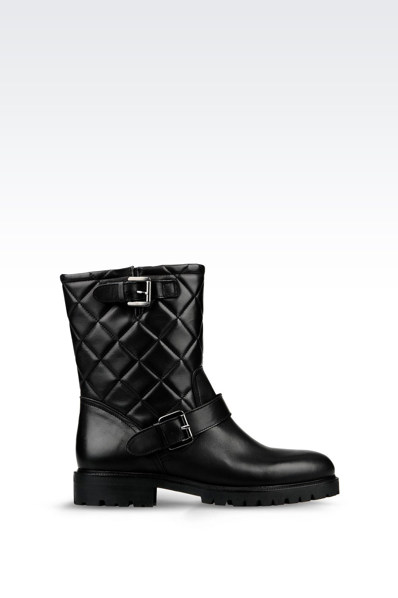 LEATHER COMBAT BOOT WITH QUILTED EFFECT: Ankle boots Women by Armani - 0