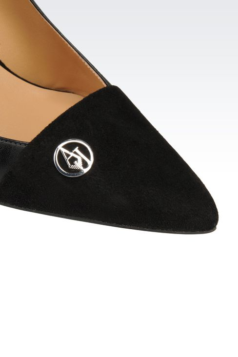 LEATHER COURT SHOE WITH SUEDE TOE: Closed-toe slip-ons  Women by Armani - 4