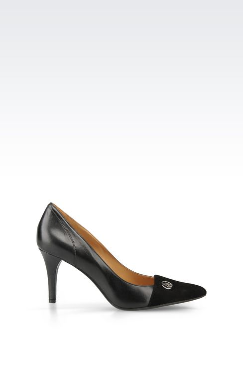LEATHER COURT SHOE WITH SUEDE TOE: Closed-toe slip-ons  Women by Armani - 1