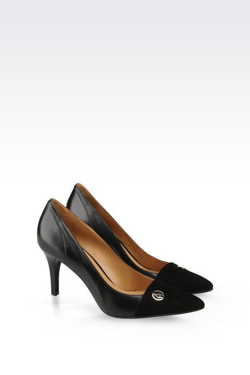 LEATHER COURT SHOE WITH SUEDE TOE: Closed-toe slip-ons  Women by Armani - 2