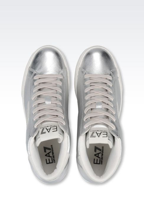 HIGH TOP SNEAKER IN METALIZED LEATHER WITH LOGO: Footwear Women by Armani - 3