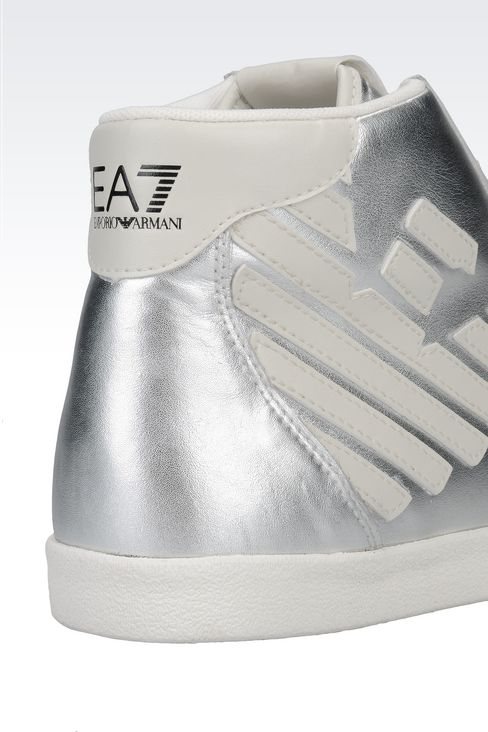HIGH TOP SNEAKER IN METALIZED LEATHER WITH LOGO: Footwear Women by Armani - 4