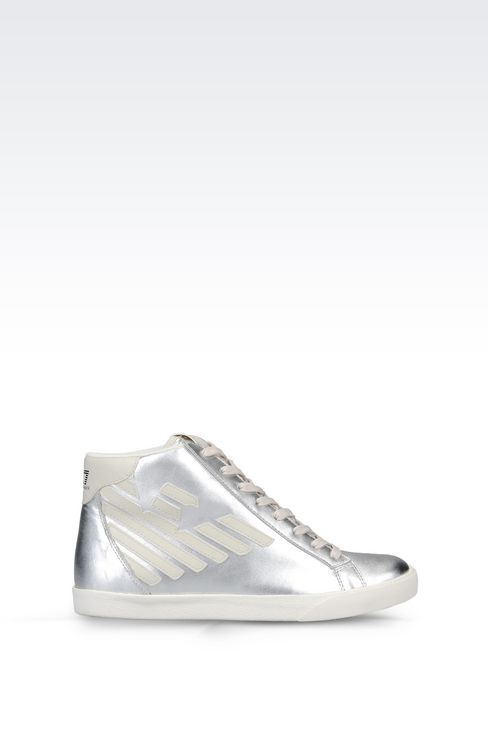 HIGH TOP SNEAKER IN METALIZED LEATHER WITH LOGO: Footwear Women by Armani - 1