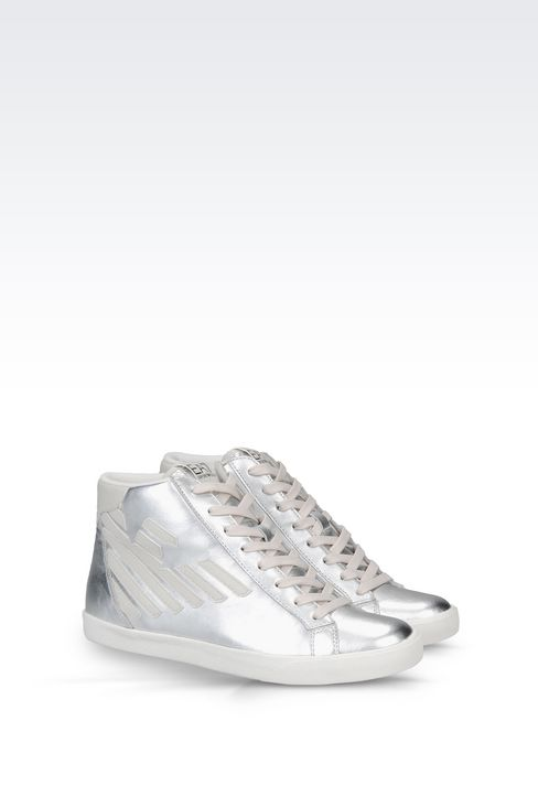 HIGH TOP SNEAKER IN METALIZED LEATHER WITH LOGO: Footwear Women by Armani - 2