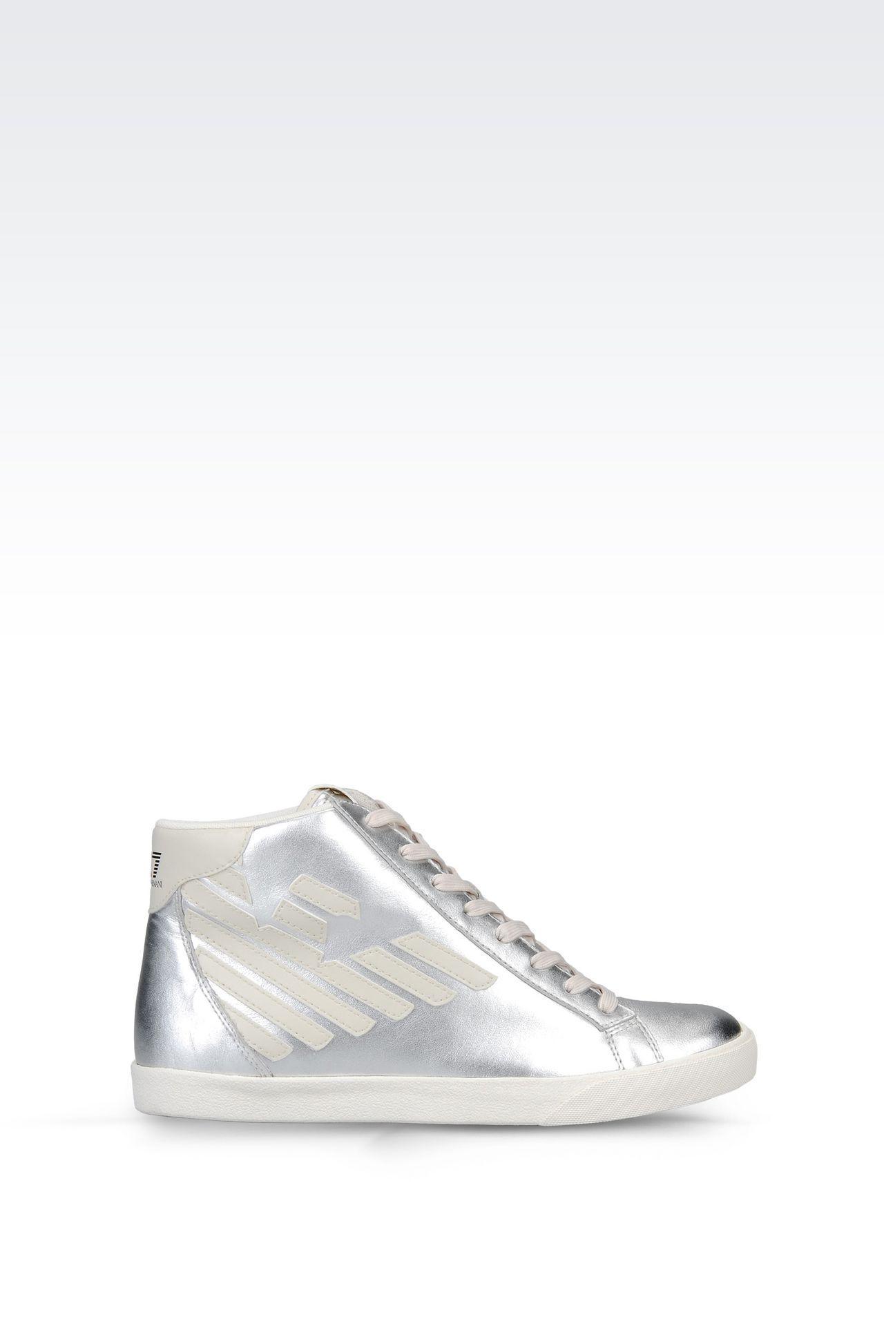 HIGH TOP SNEAKER IN METALIZED LEATHER WITH LOGO: Footwear Women by Armani - 0