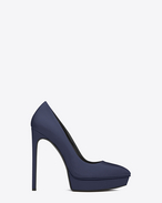 CLASSIC JANIS 105 ESCARPIN PUMP IN Blue textured LEATHER