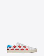 Signatur California Sneaker aus silbernem, rotem und türkisfarbenem Leder mit Metallic-Optik