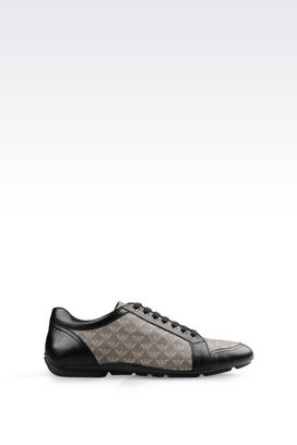 Armani Sneakers Men sneaker in napa leather and logo patterned pvc