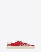 SNEAKERS SKATE LACE-UP rosso in tela con stampa Bandana