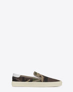 SNEAKERS SKATE SLIP-ON color kaki in gabardine di tela con stampa Camouflage