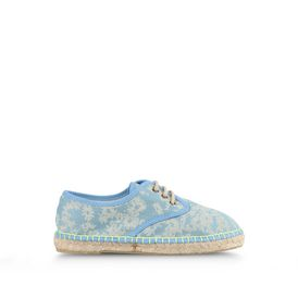 STELLA McCARTNEY KIDS, Shoes & Accessories, Cotton espadrillles in a blue daisy print, inspired by our mainline collection. <br> Lace up style with fluro stitching detail.
